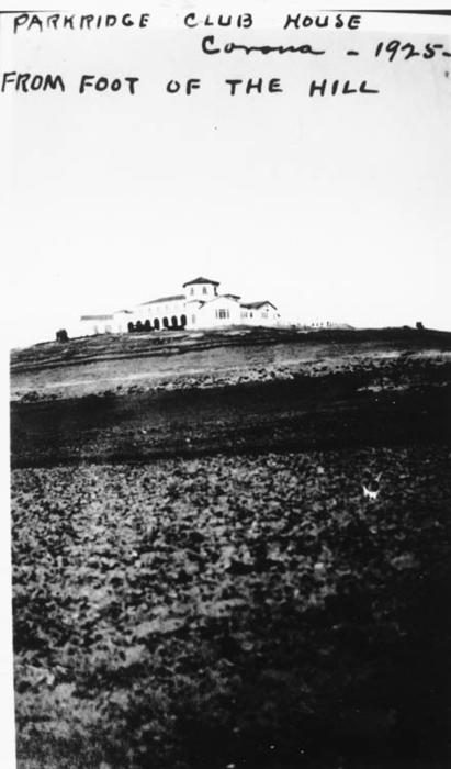 Photograph of Parkridge Club house taken from the foot of the hill. Parkridge was located in NE Corona.