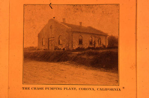 This slide is of the Chase Pumping Plant in Corona, California.    SLIDE CONDITION:  This picture has a slight reddish cast due to film deterioration.
