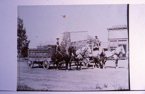 This slide shows two horse drawn wagons used to carry materials.  SLIDE CONDITION:  Good -  PRINT CALL No.  AGR Cit 021a.