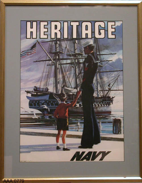"This artifact is a United States Navy Recruiting Poster.  It depicts a GM1 holding a boys hand looking at Old Ironsides, U.S.S. Constitution with ""HERITAGE"" across the top and ""NAVY"" in the lower right corner.  This framed poster measures 24"" x 19""."