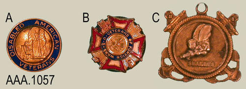 "This artifact collection consists of three service pins.  (A) Disabled American Veterans, (B) Veterans of Foreign Wars U.S., (C) Seabees.  Pin (A) measures 1/2' diameter, (B) 1/2"" x 1/2"", (C) 3/4"" x 3/4""."