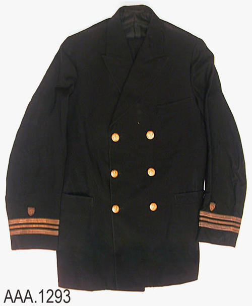 "This artifact is the U. S. Coast Guard uniform that belonged to Clement Joseph Todd.  On the back of the inside pant's pocket is the following information:  ""Officers Uniform Shop - Navy Supply Depot - Todd, C. J. - 11-14-22 - Order number 6053.""  The coat measures 15 3/4"" from shoulder seam to shoulder seam and 33 1/2"" from the collar to the hem of the coat.  The pants measure 36"" at the waist.  CONDITION:  There is a small pinhole on the left side of the coat near the top button."