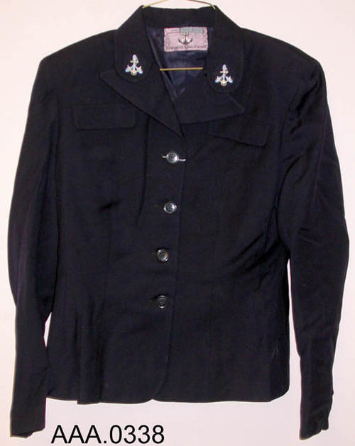This artifact is a jacket that was worn by the WAVES (USA).  It belonged to Frances M. Clark when she was in the WAVES.  She trained with the First Regiment at  Hunter College, NewYork City.