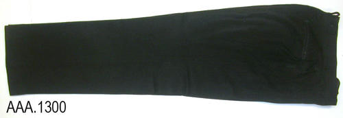 "This artifact is a pair of black uniform pants.  Their length is 45"" and the waist is 32""."