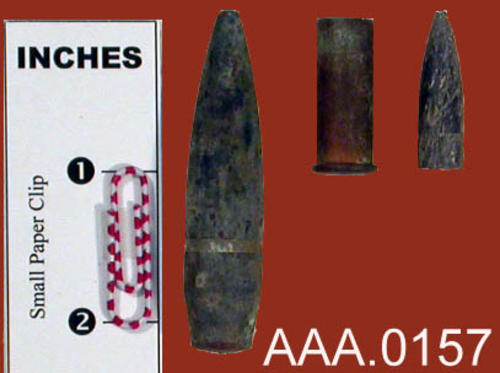 This artifact collection consists of bullet casings that were found with a metal detector in the Temescal Wash at the site of the old Army Ordnance Depot.