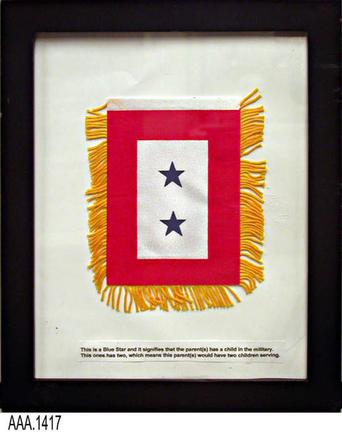 This artifact is a framed Bue Star flag.  The number of stars in the flag signify the number of children that a parent(s) has serviing in the active military. This flag is part of the Chris Harvey Eagle Scout Project:  Heroes Of Our Community - Corona, California - 2007.   CONDITION:  Like new condition.