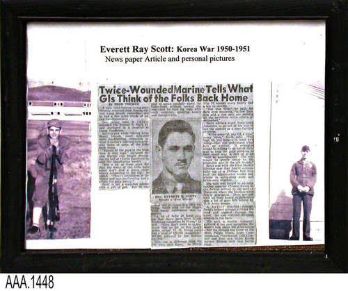 "This artifact consists of two framed personal photos and a newspaper article pertaining to Everett Ray Scott who was in the Korean War 1950-1951.  This framed picture-newspaper collage is part of the Chris Harvey Eagle Scout Project:  Heroes Of Our Community - Corona, California - 2007.   MEASUREMENTS:  9 1/2"" x 12"".  - CONDITION:  Very good."