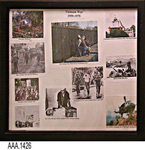 "This artifact is a group of nine small pictures from the Viewnam War (1959-1975) mounted on a single background. This picture grouping is part of the Chris Harvey Eagle Scout Project:  Heroes Of Our Community - Corona, California - 2007.     MEASUREMENTS:  12"" x 14 3/4"".  - CONDITION:  The picture is in good condition; however, the frame is broken."