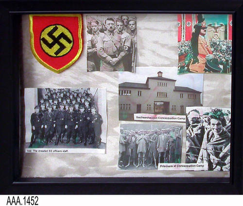 "This artifact is a framed collage consisting of six photos and one non-photo item.  The pictures and item pertain to Germany during WWII.  This framed collage is part of the Chris Harvey Eagle Scout Project:  Heroes Of Our Community - Corona, California - 2007.   MEASUREMENTS:  9 1/4"" x 11 1/2"".  - CONDITION:  Fair"