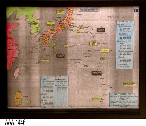 "This artifact is a framed map of the Western Pacific Japanese Homeland Dispositions August 1945 and Allied plans for the invasion of Japan (Operation Downfall).  The map has been hand colorized.  This framed map is part of the Chris Harvey Eagle Scout Project:  Heroes Of Our Community - Corona, California - 2007.   MEASUREMENTS:  12"" x 14 3/4"".  - CONDITION:  Very good."