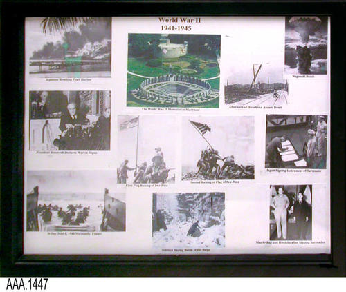 "This artifact is a framed picture collage featuring eleven small pictures pertaining to WWII  (1941-1945).  This framed picture collage is part of the Chris Harvey Eagle Scout Project:  Heroes Of Our Community - Corona, California - 2007.   MEASUREMENTS:  12"" x 14 3/4"".  - CONDITION:  Very good."