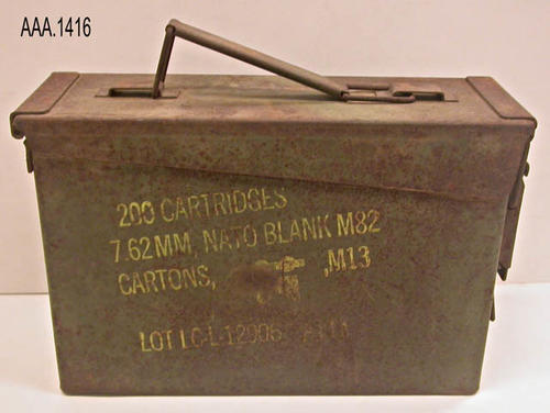 This artifact is a metal ammunition box for 7l62 MM Nato Blank M82, and is part of the Chris Harvey Eagle Scout Project:  Heroes Of Our Community - Corona, California - 2007.   CONDITION:  The text on the case is fully visible; however parts are beginning to show rust damage.