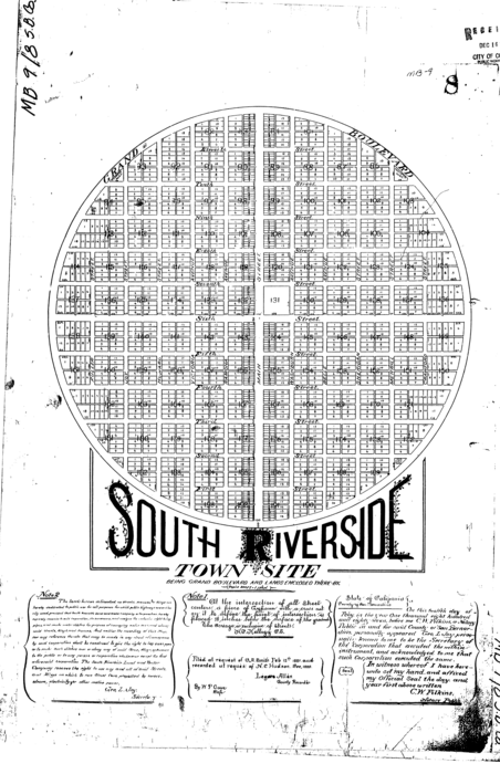 "Digital copy of an early South Riverside map focused exclusively on ""Grand Boulevard and the lands enclosed there by."""