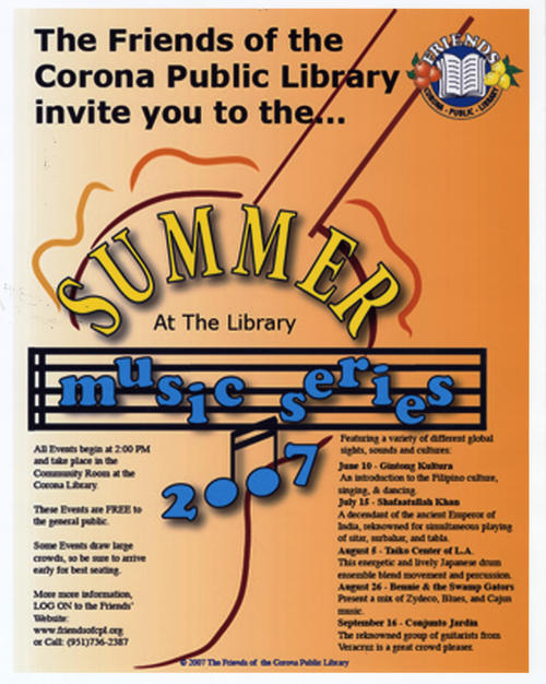 Photograph of the Friends' Summer at the Library Music Series 2007 poster.