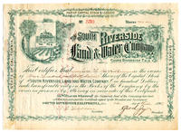 South Riverside Land and Water Company Stock Certificate