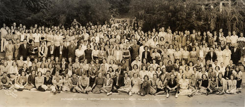 Southern California Christian Service Conference in Pacific Palisades, CA. Robert T. Smith of Corona is the 8th male in the back row, counting from left to right.