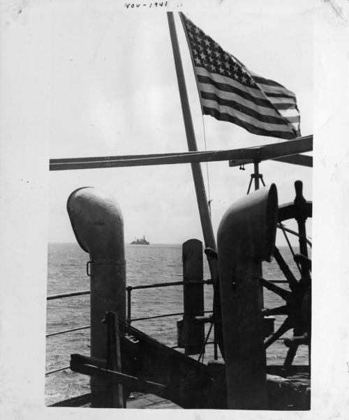 Photograph showing the USS Omaha in the background. The photo may have been taken from the captured Odenwald or the USS Somers. Abner Alton served on the USS Omaha before and during World War II., This is a digital image, the original was returned to the donor after scanning.