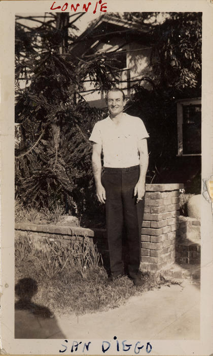 Photograph of Abner Lonnie Alton n San Diego. Alton served on the <em>USS Omaha</em> during World War II, he later settled in Corona and became a member of the Police Department., This is a digital image, the original was returned to the donor after scanning.