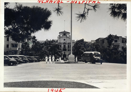 Photograph of the U.S. Naval Hospital in Norco. The facility was originally build as a resort, Lake Norconian Club. The Navy purchased the facility just before the attack on Pearl Harbor and the U.S.'s entry into World War II., This is a digital image, the original was returned to the donor after scanning.