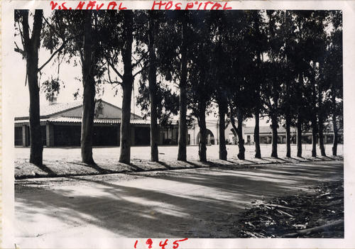 Photograph of the U.S. Naval Hospital in Norco. Before World War II the facility was a luxury resort called the Lake Norconian Club., This is a digital image, the original was returned to the donor after scanning.