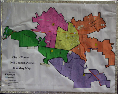 City of Corona 2016 Council District Boundary Map. The map is mounted on styrofoam with packing tape. The map shows the five districts that the city would be organized into if Measure N passes on November 8, 2016.