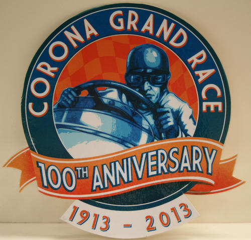 Laminated poster showing the logo created for the 100th anniversary of the first Corona Road Race which took place on September 9, 1913.