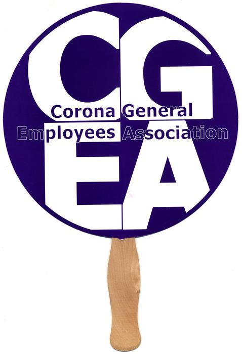 The purple and white sign was created by the Corona General Employees Association for members use at City Council Meetings and other protests. The signs were developed during the contentious 2017 contract negotiations between the City of Corona and CGEA. The sign was used at the Wednesday, November 15, 2017 City Council meeting.