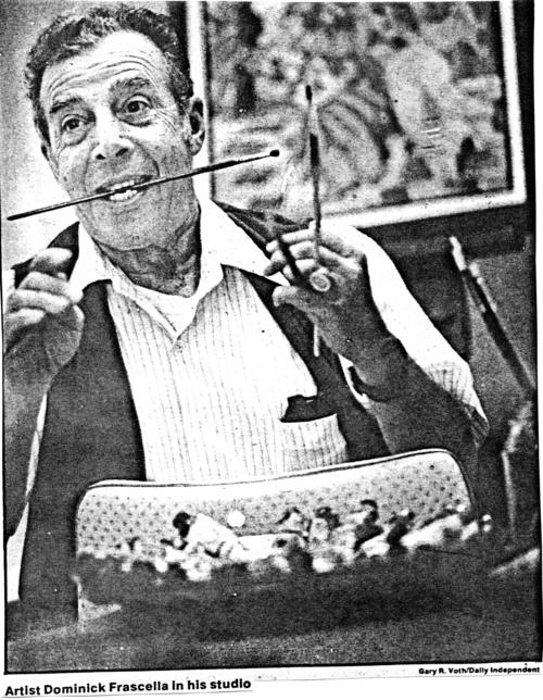 "Photograph of an image clipped from the Daily Independent newspaper. The caption reads, ""Artist Dominick Frascella in his studio."" Mr. Frascella was a founding member of the Corona Art Association."