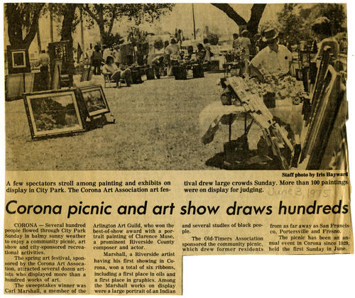 Photograph of a newspaper clipping from the Daily Independent about the Old-Timers Picnic and art show at City Park.