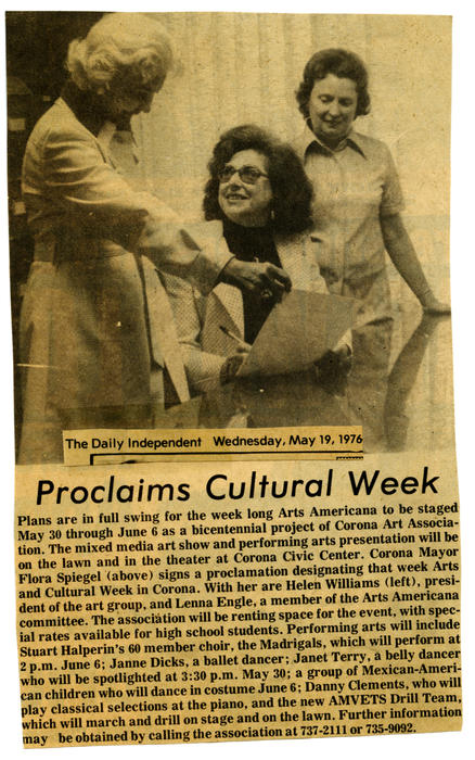 Photograph of a newspaper clipping from the Daily Independent. The article is about the Arts Americana mixed media and performing arts festival held May 30 - June 6, 1976. The program was sponsored by the Corona Art Association.