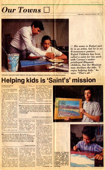 Pages C1 and C2 from the <em>Corona Norco Independent</em> published on November 7, 1990. The section is labeled <em>Our Towns</em> and focuses on the work of local artist and teacher Rafael Valdevia. The title of the article is <em>Helping Kids is 'Saint's' Mission</em>.