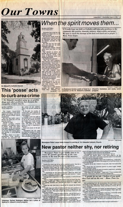 Pages A9 and A10 from the Corona Norco Independent published on August 3, 1994. The section is the <em>Our Towns</em> and focuses on the work of local priests. The three articles shown are <em>When the spirit moves them...</em>, <em>This 'posse' acts to curb area crime</em>, and <em>New pastor neither shy, nor retiring</em>.