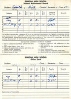 Corona High School Report Card (front)