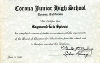 Spiess' Corona Junior High School Diploma