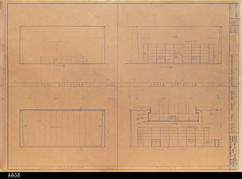 "This blueprint shows four elevation plans for the second Corona Public Library that was in service from July 21, 1971 to August 8, 1991.  The library was located at 6th and Main St., the site of the present library. MEASUREMENTS:  30 "" x 41 1/2"" - CONDITION:  Good - COPIES:  1"