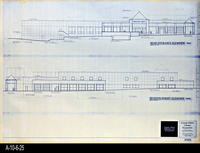 Blueprint - Corona Public Library - Main Entrance Elevation (West) and Seventh...