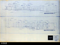 Blueprint - Corona Public Library - Main Entrance Elevation (East) and Sixth...