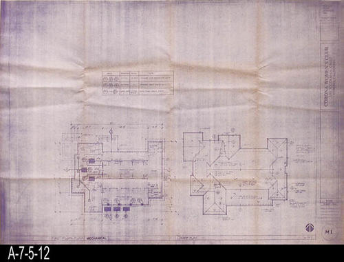 "This blueprint is for the First Floor Plan (Mechanical) and Roof Plan.  Blueprints were processed by Costa Mesa Blueprint, Costa Mesa, California.  -  MEASUREMENTS:  308"" X 42"" - CONDITION:  Excellent condition - COPIES:  1."