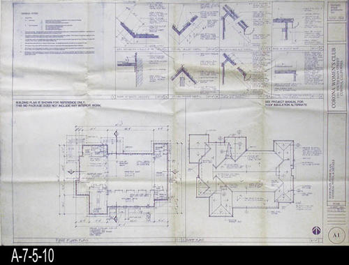 "This blueprint is for the Roof Plan, Floor Plan, and Details.  General Notes are also printed on this blueprint.  Blueprints were processed by Costa Mesa Blueprint, Costa Mesa, California.  -  MEASUREMENTS:  308"" X 42"" - CONDITION:  Excellent condition - COPIES:  1."