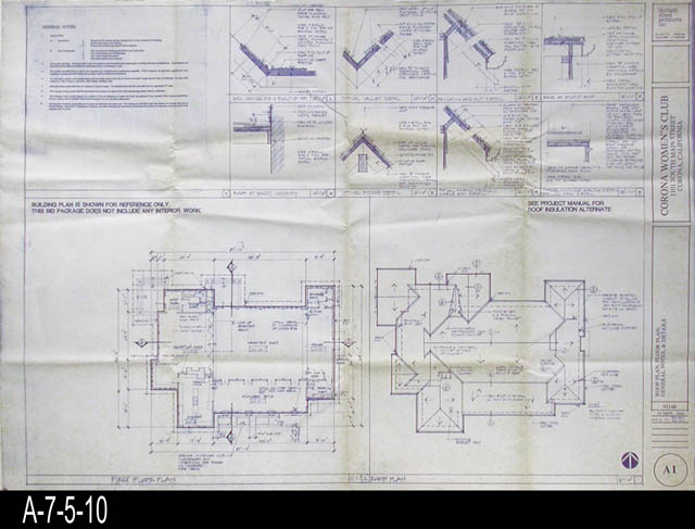 Blueprint womans improvement club roof plan floor plan blueprint womans improvement club roof plan floor plan general notes and details a1 malvernweather Image collections