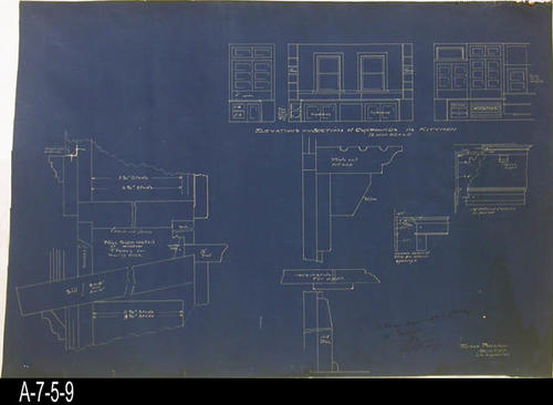 "This blueprint is for the Elevations and Sections of Cupboards in the Kitchen. Hollaway and Mussenter was the contractor for the building. - MEASUREMENTS:  23 3/8"" X 36 1/2"" - CONDITION:  This blueprint is in a protective sleeve.  The majority of the damage to this blueprint is to the right edge. This damage does not compromise the blueprint's details. - COPIES:  1."