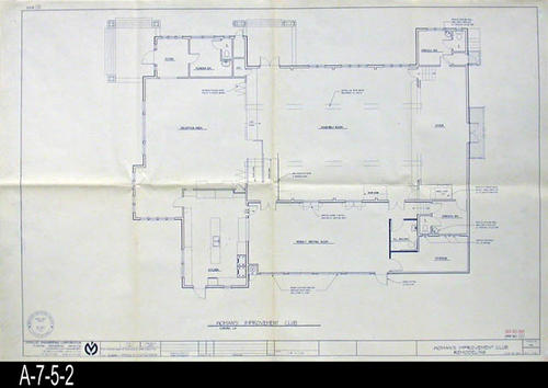 "This blueprint is for Remodeling of the Woman's Improvement Club.  This blueprint gives an overview of many of the interior and exterior changes.  No roof renovations are on this plan.  - MEASUREMENTS:  24"" X 36"" - CONDITION:  Excellent - COPIES:  1."
