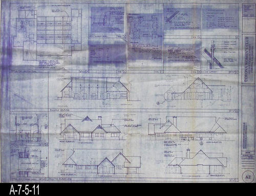 "This blueprint is for the Building Elevations and Structural Details.  Blueprints were processed by Costa Mesa Blueprint, Costa Mesa, California.  -  MEASUREMENTS:  308"" X 42"" - CONDITION:  Excellent condition - COPIES:  1."