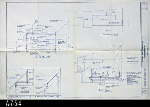 "This blueprint is for the Remodeling of the Woman's Improvement Club.  Shown on this blueprint is:  Section A, Framing and Rafter Detail, and the Foundation and Roof Plan.  - MEASUREMENTS:  24"" X 36"" - CONDITION:  Excellent - COPIES:  1."