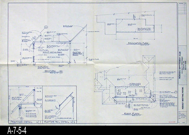 Blueprint womans improvement club rebuilt meeting room blueprint womans improvement club rebuilt meeting room section a framing and rafter detail roof and foundation malvernweather Image collections