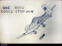 Poster - c. 1940 - Pencil and Paper Drawing - WWII Bond Promotion