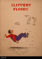 Safety Poster - c. 1940's - Slippery Floors