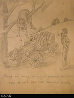 Poster - c. 1940 - Pencil Drawing on Cardboard - Cartoon - Picnic Notice
