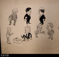 Poster - c. 1940 - Pen and Ink on Cardboard - Collection of Male Cartoon Characters...