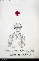 Poster - c. 1940 - Pen and Ink Poster - Injured Soldier